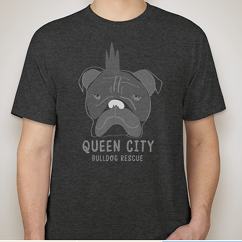 Qcbr Tee Unisex Heather Black Queen City Bulldog Rescue
